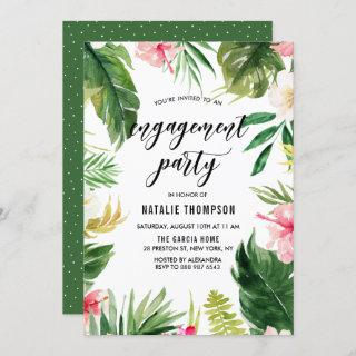 Watercolor Tropical Floral Frame Engagement Party Invitations