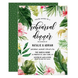 Watercolor Tropical Floral Frame Rehearsal Dinner Invitations