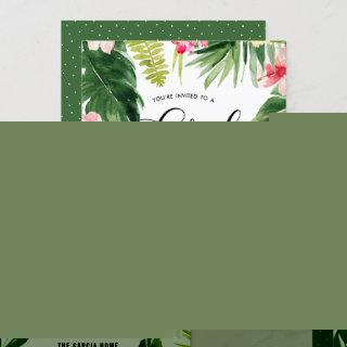 Watercolor Tropical Floral Frame Rehearsal Dinner