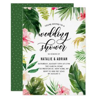 Watercolor Tropical Floral Frame Wedding Shower Invitations