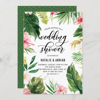 Watercolor Tropical Floral Frame Wedding Shower