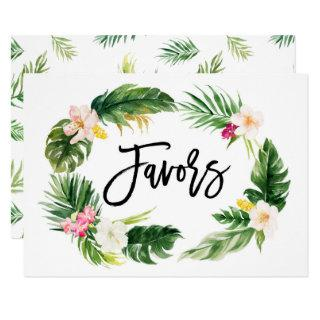 Watercolor Tropical Floral Wreath Favors Sign Invitations