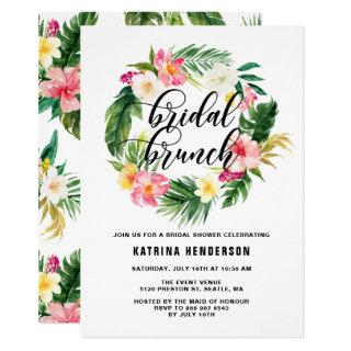 Watercolor Tropical Flowers Wreath Bridal Brunch Invitations