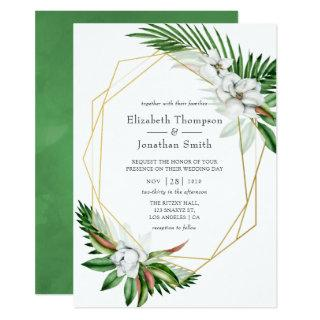 Watercolor Tropical Greenery Geometric Wedding Invitations