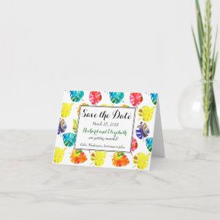 Watercolor Tropical Leaves wedding Save the Date Announcement