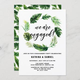 Watercolor Tropical Leaves Wreath Engagement Party Invitation