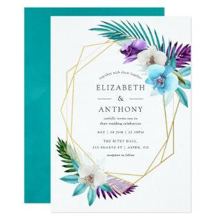 Watercolor Tropical Orchids Geometric Wedding Invitation