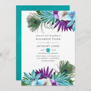 Watercolor Tropical Orchids Peacock Wedding