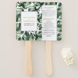 Watercolor tropical palm leaf wedding hand fan