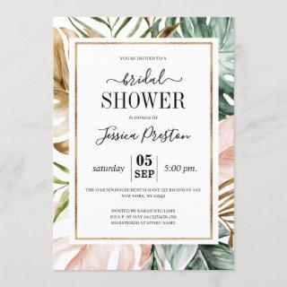 Watercolor Tropical Palm Leaves Bridal Shower