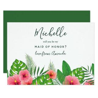 Watercolor Tropical Will You Be My Maid Of Honor Invitations