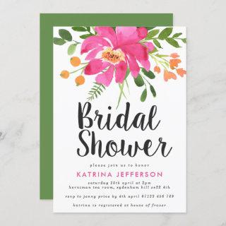 Watercolor Tropics Hot Pink Bridal Shower Invitation