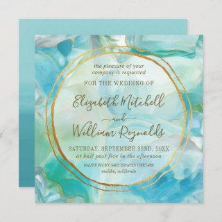 Watercolor Turquoise Gemstone | Gold Rings Wedding Invitations