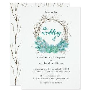 Watercolor Twigs & Light Green Succulents Wedding Invitation