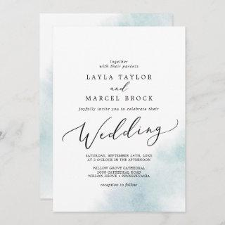 Watercolor Wash | Blue Wedding Invitation