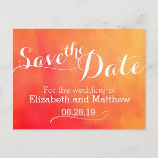 Watercolor wash painted orange save the date card