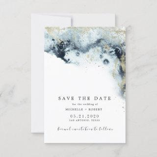 Watercolor Waves Minimalistic Photo Save The Date Invitations