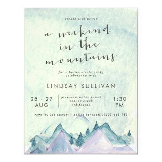 Watercolor Weekend in the Mountains Bachelorette Invitations