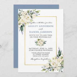 Watercolor White Floral Dusty Blue Wedding Invitations