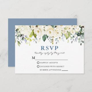 Watercolor White Floral Dusty Blue Wedding RSVP Card