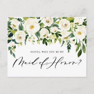 Watercolor White Flowers Maid of Honor Proposal Invitations Postcard