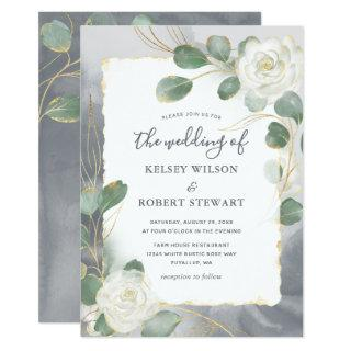Watercolor White Roses Gray Gold Greenery Wedding Invitations