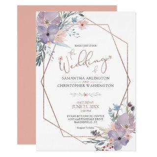 Watercolor Wildflowers Copper Coral Blush Wedding Invitation