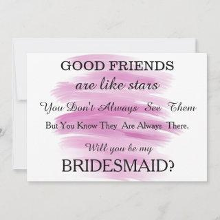 Watercolor Will you be my bridesmaid?