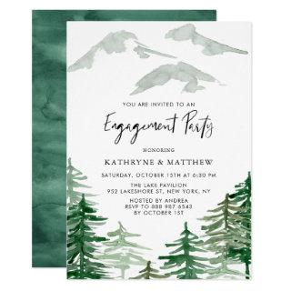 Watercolor Woodland Engagement Party Invitation