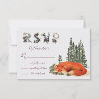 Watercolor Woodland fox Wedding response card RSVP