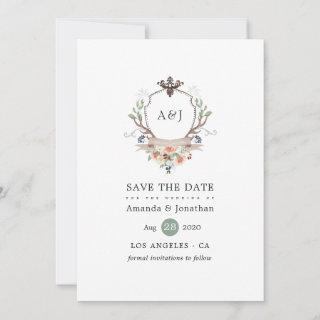 Watercolor Woodland Laurel Crest Monogram Wedding Save The Date