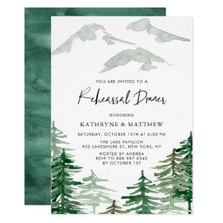 Watercolor Woodland Rehearsal Dinner Invitations