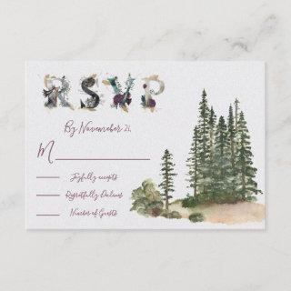 Watercolor Woodland Wedding response cards RSVP