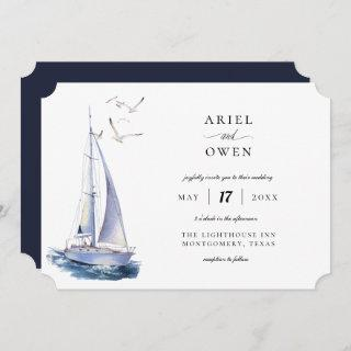 Watercolor Yacht Nautical Theme Wedding Invitation
