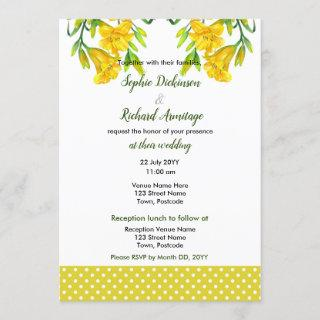 Watercolor Yellow Day Lilies Floral Illustration Invitation
