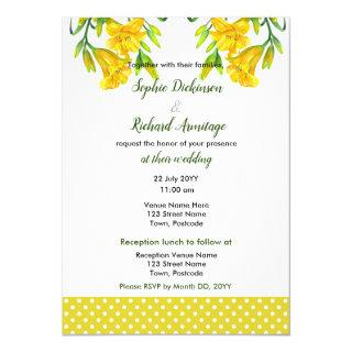 Watercolor Yellow Day Lilies Floral Illustration Invitations
