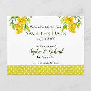 Watercolor Yellow Day Lilies Save The Date Announcement Postcard