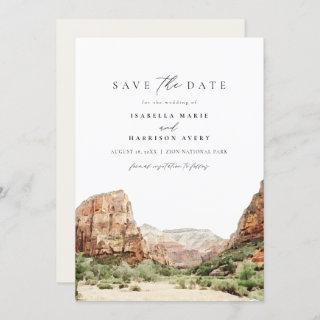 Watercolor Zion National Park Save the Date Invitation