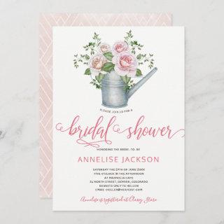 Watering can sage blush pink roses bridal shower Invitations