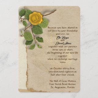 Wax Stamp Monogram Greenery Wedding Invitations