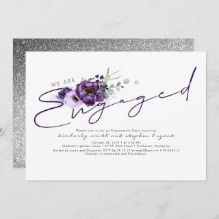 We Are Engaged Purple Flowers Engagement Party Invitations