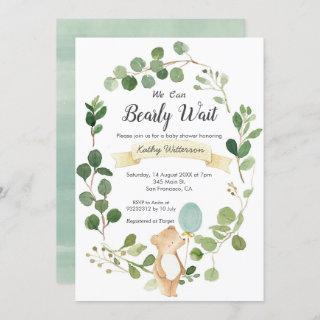 We can bearly wait baby shower invitation