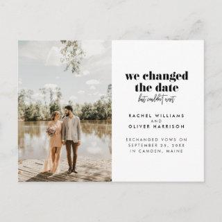 We Changed the Date But Couldn't Wait Elopement Announcement Postcard