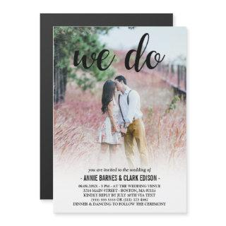 We Do Black Script Photo Wedding Magnetic Invitations