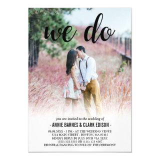 We Do Black Script Photo Wedding Magnetic Invitation