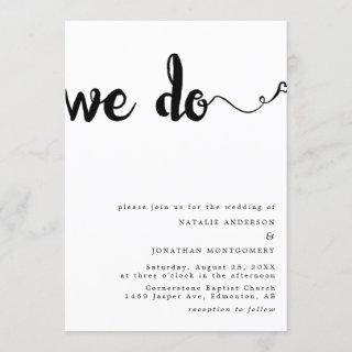 We do calligraphy hand lettering minimalist black invitation