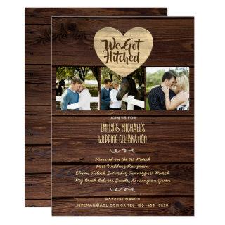 WE GOT HITCHED Rustic Wedding Party PHOTO Invites