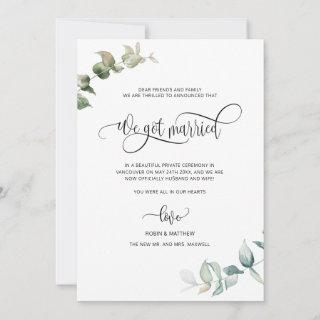 We got Married, Foliage Greenery Married Wedding Announcement