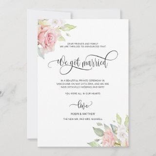 We got Married, Rose Gold Floral Married Wedding Announcement