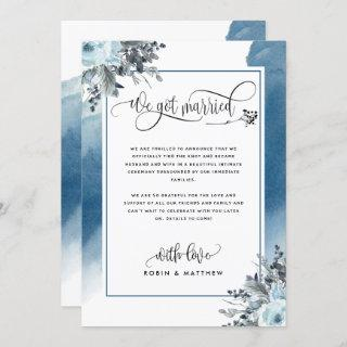 We Got Married Wedding Announcement in Blue